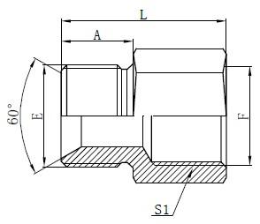 Britské štandardné hadicové adaptéry Kreslenie