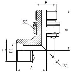 Koleno Hydraulické adaptéry Kreslenie