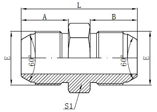 Metrické male adaptéry JIS Kreslenie